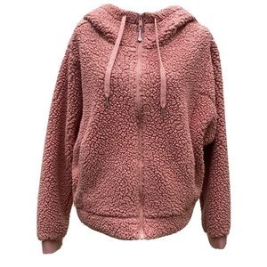 Zella coral pink fuzzy Sherpa coat medium